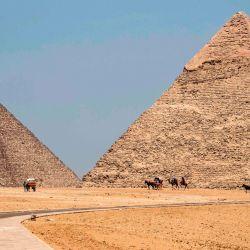 Esta imagen muestra una vista de guías de camellos esperando cerca de la Gran Pirámide (de izquierda a derecha) de Khufu (Keops) y la Pirámide de Khafre (Chephren) en la necrópolis de las pirámides de Giza en las afueras del suroeste de la capital egipcia El Cairo , a medida que el sitio arqueológico reabre mientras el país alivia las restricciones establecidas debido a la pandemia de coronavirus COVID-19. | Foto:Khaled Desouki / AFP