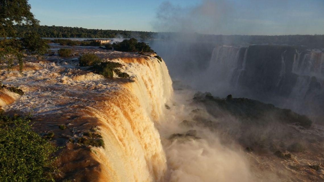 The Iguazu falls, as seen from the Brazilian side on the border with Argentina, near Foz do Iguaçu, on June 4, 2019.
