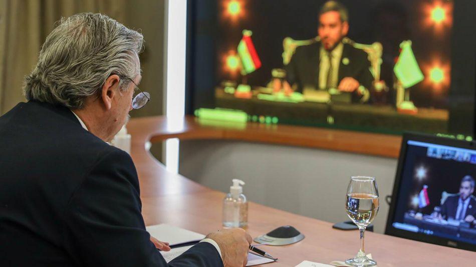 Alberto Fernández durante su participación en la Cumbre virtual del Mercosur.