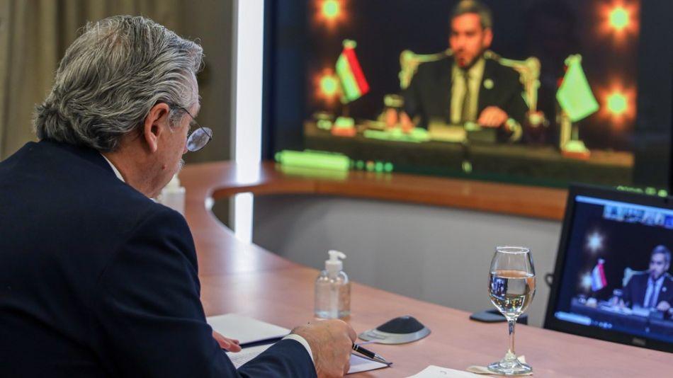 El presidente Alberto Fernández en la cumbre virtual del Mercosur