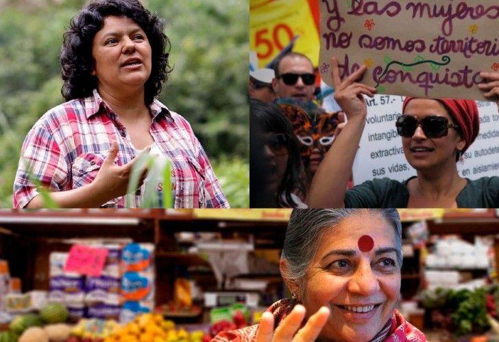 Vandana Shiva, filosofa india, y Berta Cáceres, activista ambiental hondureña fallecida, dos grandes figuras del movimiento.