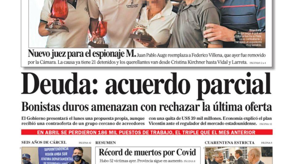 La tapa del diario PERFIL del sábado 4 de julio de 2020.
