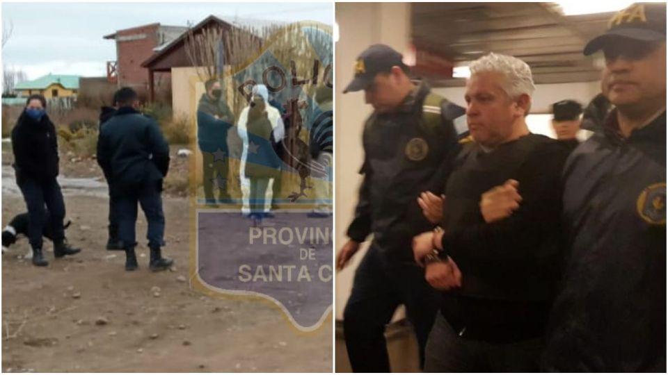 La casa de la calle Cañadón Seco, en Calafate, y al lado una foto de Fabián Gutiérrez cuando declaraba por la causa de los cuadernos.