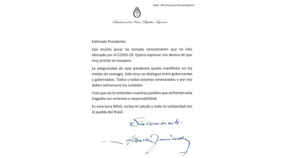 President Alberto Fernández's letter to Brazil leader Jair Bolsonaro