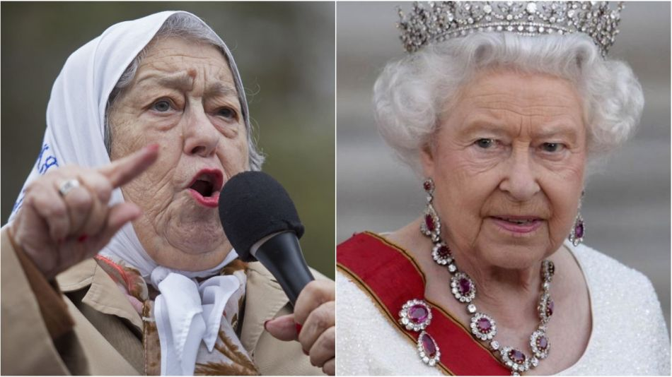 Hebe de Bonafini vs. la Reina de Inglaterra.