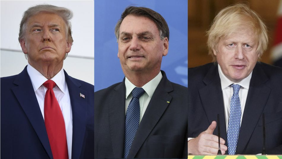 Trump, Bolsonaro y Boris Johnson 20200707