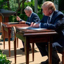 El presidente de los Estados Unidos, Donald Trump, y el presidente mexicano, Andrés Manuel López Obrador, firman una Declaración conjunta durante una conferencia de prensa en el Jardín de las Rosas de la Casa Blanca, en Washington, DC.   Foto:JIM WATSON / AFP
