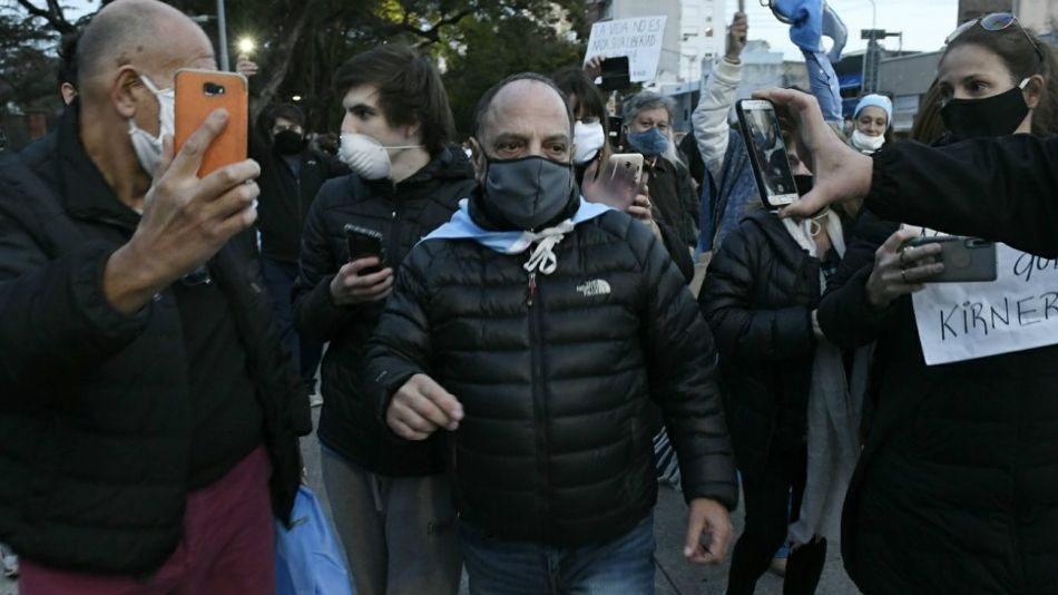 9 de julio 2020: Baby Etchecopar fue uno de los que participó en las protestas contra el gobierno de Alberto Fernández.