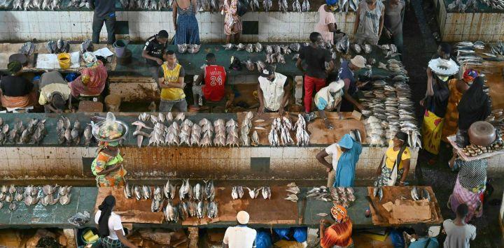 Esta imagen muestra el mercado de pescado Adjame en Abidjan.