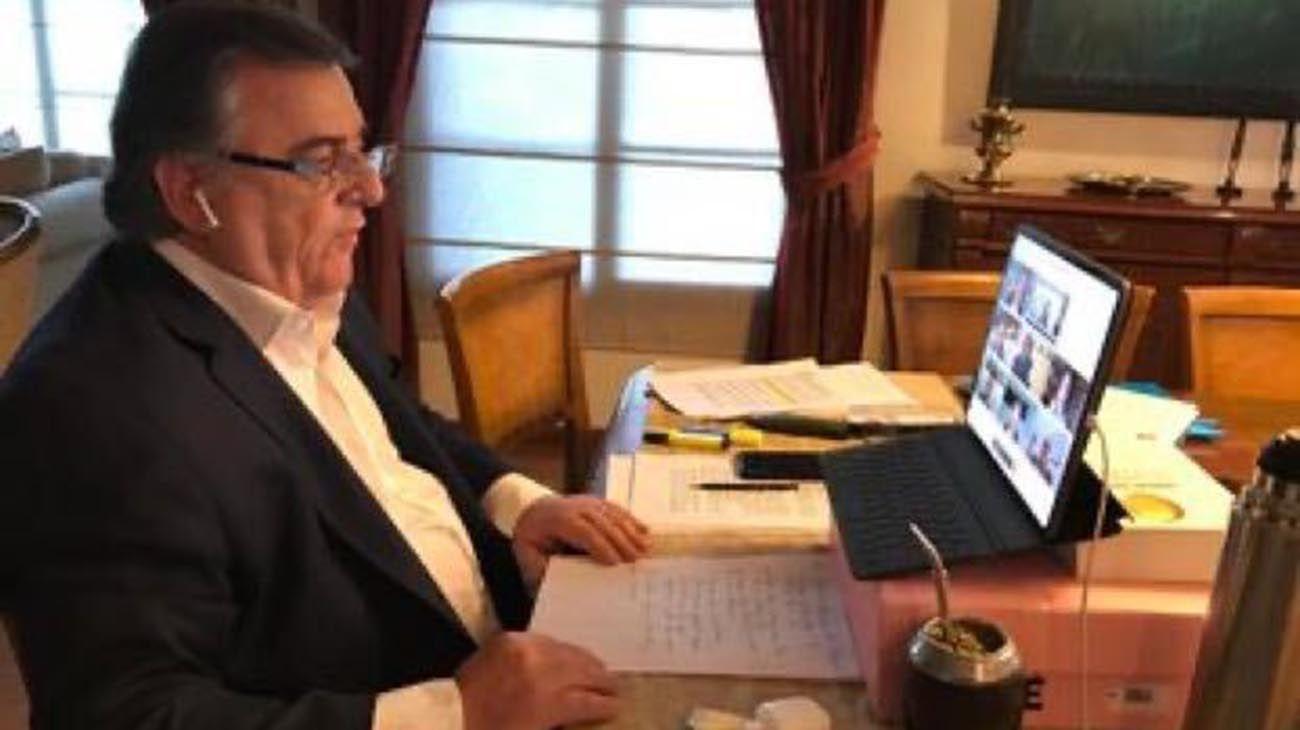 El diputado Mario Negri en teleconferencia con Alberto Fernández