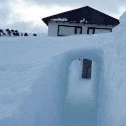 Con la ayuda de una pala, Bertolín construyó un tunel en la nieve para poder salir de su casa.