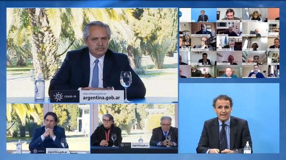 Alberto Fernández durante el acto en materia educativa.