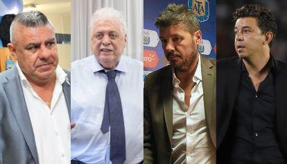 Claudio Tapia, Ginés González García, Marcelo Tinelli y Marcelo Gallardo. Nadie sabe cuándo volverá el fútbol en la Argentina. // NA