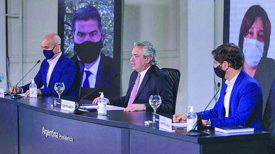 Rodríguez Larreta, junto al presidente Alberto Fernández y el gobernador Axel Kicillof, en los anuncios de Olivos.