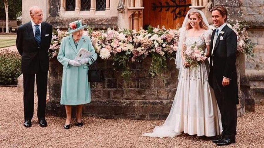Beatriz de York, Edoardo Mapelli Mozzi, la reina Isabel II y el Duque de Edimburgo