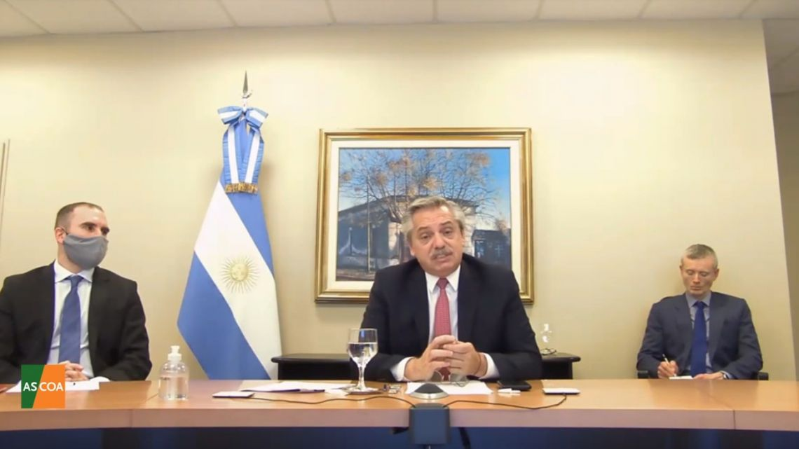 President Alberto Fernández, pictured during a videoconference with the Council of the Americas.