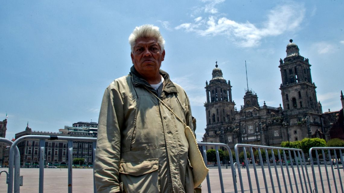 Mexican tour guide Jesús Yepez Lugo, who is unemployed due to the Covid-19 pandemic, poses in the historic center in Mexico City, on July 10, 2020.