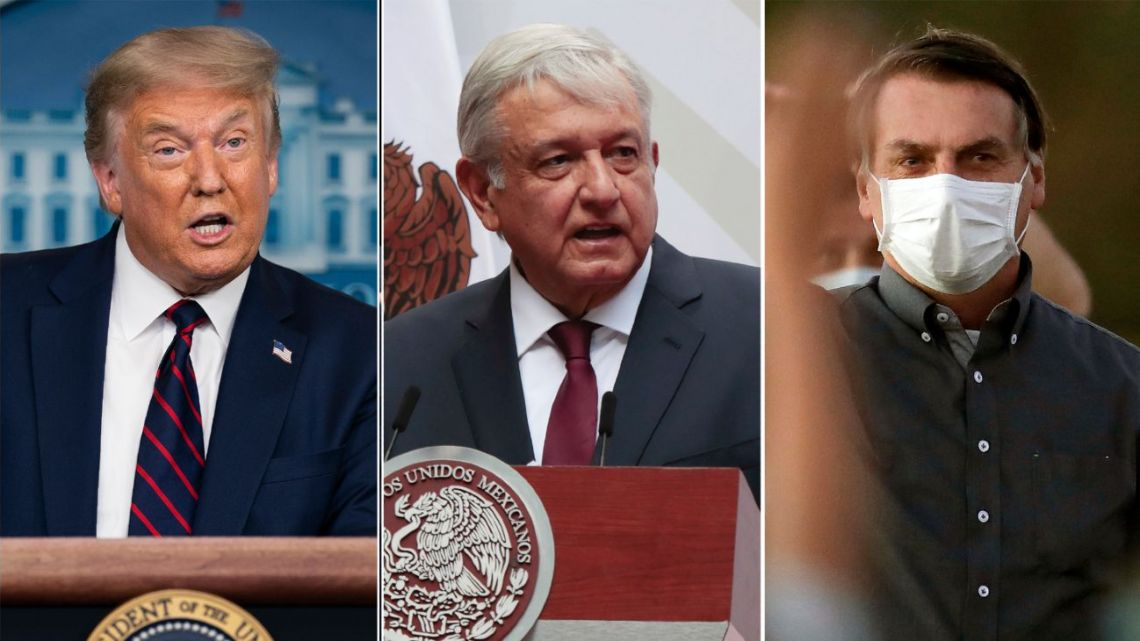 This combination photo shows US President Donald J. Trump, from left, Mexican President Andrés Manuel López Obrador and Brazil's President Jair Bolsonaro. The countries atop the rankings of Covid-19 deaths globally are led by populist, mold-breaking leaders. But when it comes to battling a new disease like COVID-19, the disruptive policies of populists are faring poorly compared to more resilient liberal democratic models in countries like Germany, France and Iceland in Europe, or South Korea or Japan in Asia.