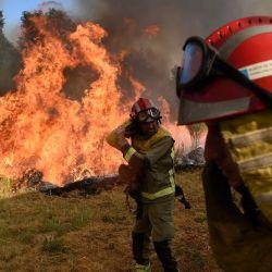 Los bomberos intentan extinguir un incendio forestal en el pueblo de San Cristóbal, cerca de Monterrey. | Foto:MIGUEL RIOPA / AFP