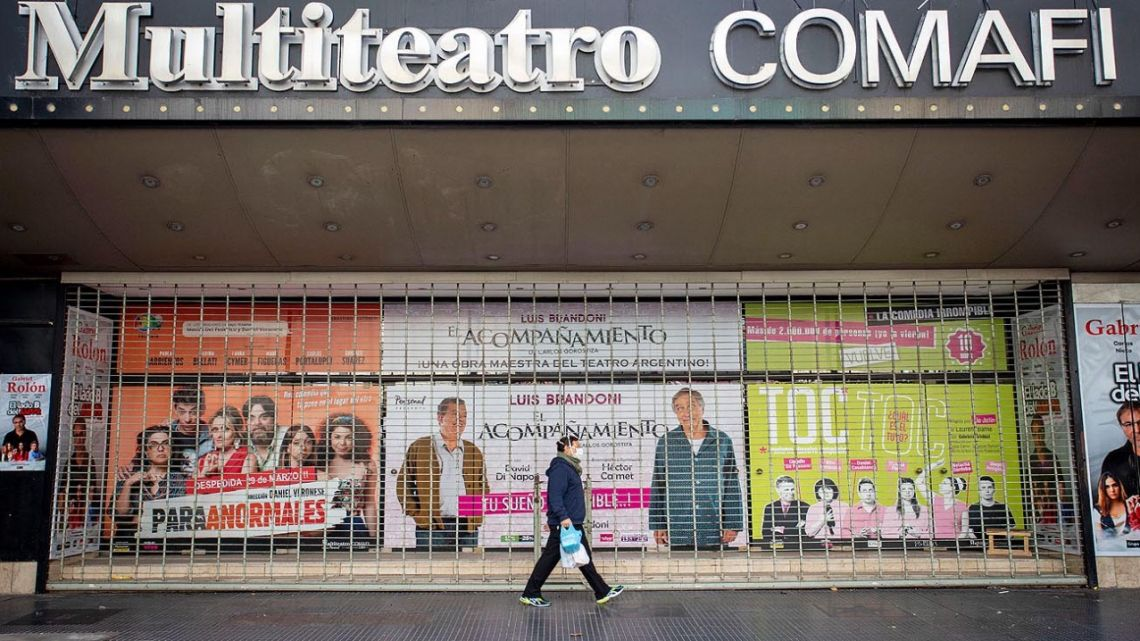 A shuttered theatre on Avenida Corrientes.