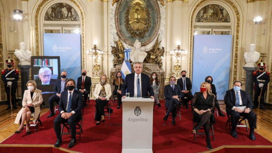 Alberto Fernández en el anuncio de la reforma judicial