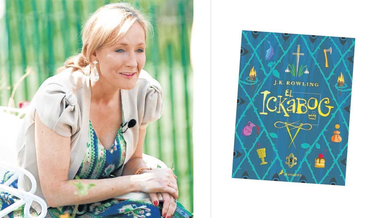 En la mira. Arriba, la escritora J.K. Rowling y su obra más reciente, El ickaboc.