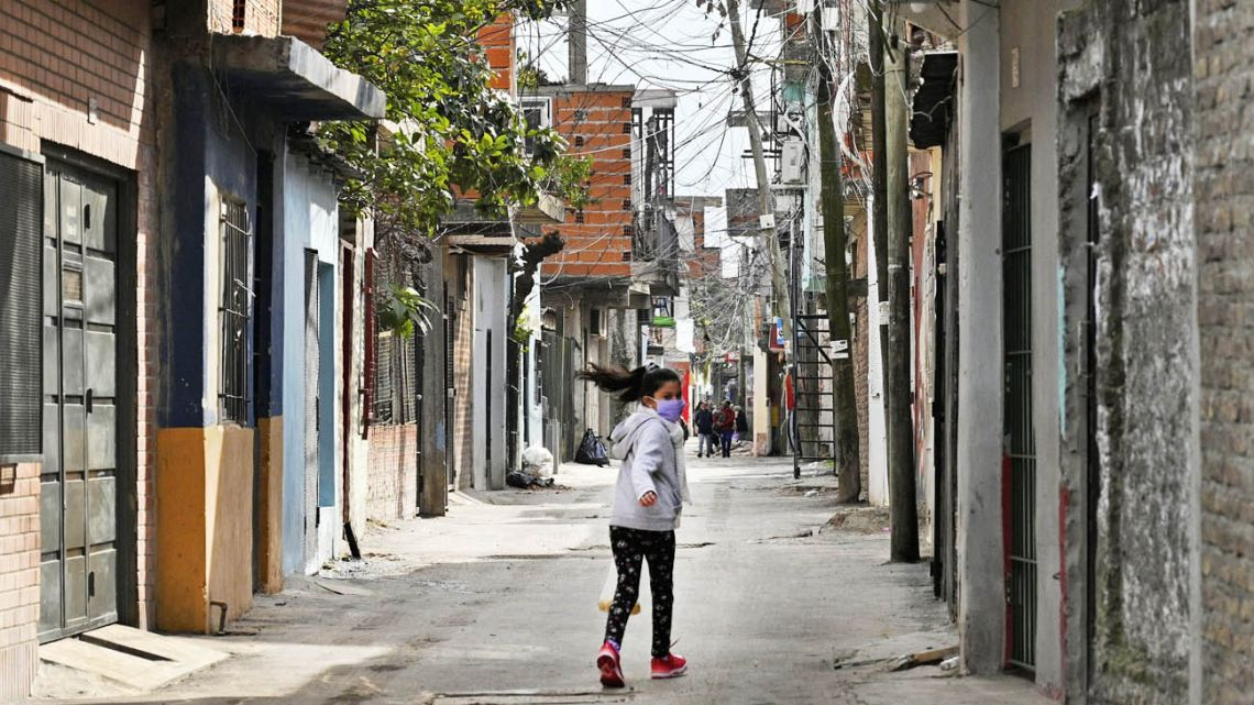 A girl walking on the street during quarantine.