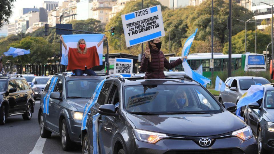 Marcha en el Obelisco contra la reforma judicial.