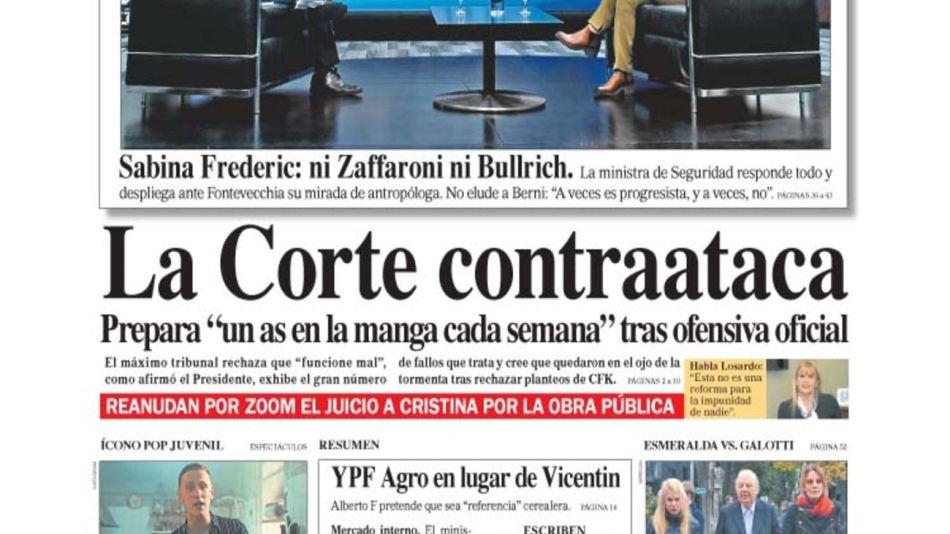 tapa del Diario PERFIL domingo 2 de agosto de 2020