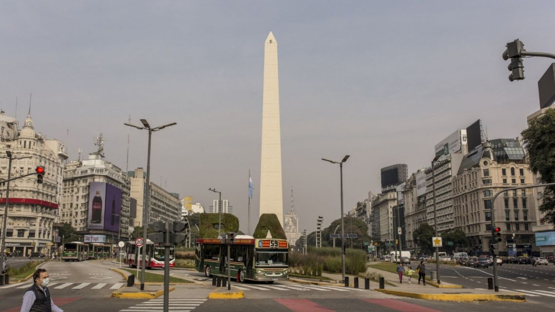 An empty Avenida 9 de Julio, pictured during the coronavirus pandemic.