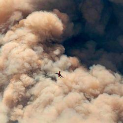 Un avión de bomberos vuela lejos de un penacho de cenizas de pirocúmulos después de hacer una caída retardante en una cresta mientras los bomberos continúan luchando contra el incendio de Apple cerca de Banning, California.   Foto:JOSH EDELSON / AFP