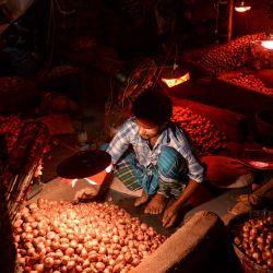 Un vendedor clasifica cebollas en el mercado mayorista más grande de Dhaka. | Foto:Munir Uz zaman / AFP