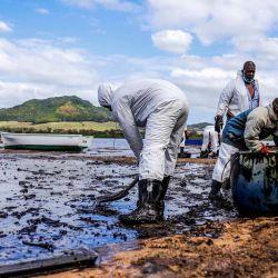 Personas extraen aceite derramado del buque MV Wakashio, perteneciente a una empresa japonesa pero con bandera panameña, que encalló y provocó una fuga de petróleo cerca del Blue Bay Marine Park en el sureste de Mauricio. | Foto:Daren Mauree / L'Express Maurice / AFP
