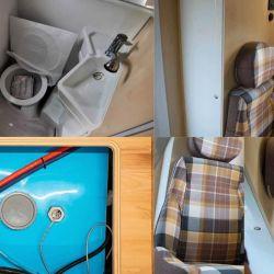 El camper ofrece un baño con ducha.