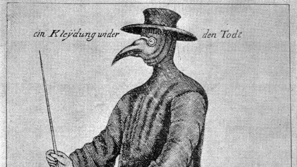 Grabado de 1656. Durante la epidemia de peste del siglo XVII en Europa, los médicos llevaban máscaras picudas, guantes de cuero y capas largas para intentar defenderse de la enfermedad.