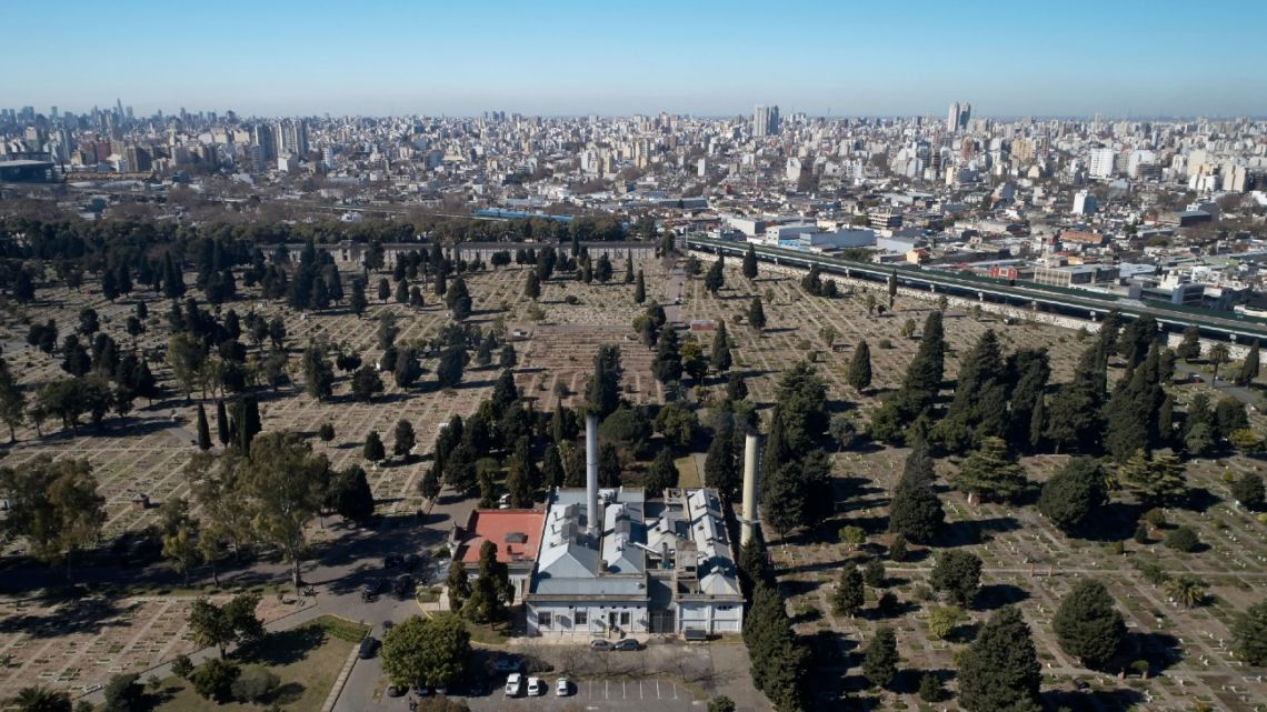 Aerial view of the crematorium of the Chacarita cemetery during the Covid-19 coronavirus pandemic in Buenos Aires, on August 11, 2020.