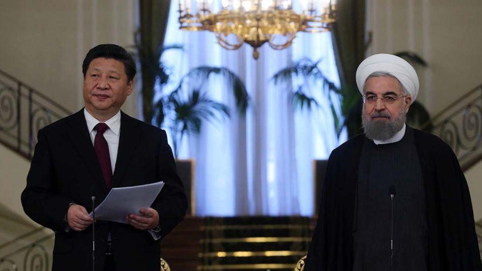 Xi Jinping con Rouhani, el presidente de Irán, y de Rouhani con Modi, el presidente de India-20200812