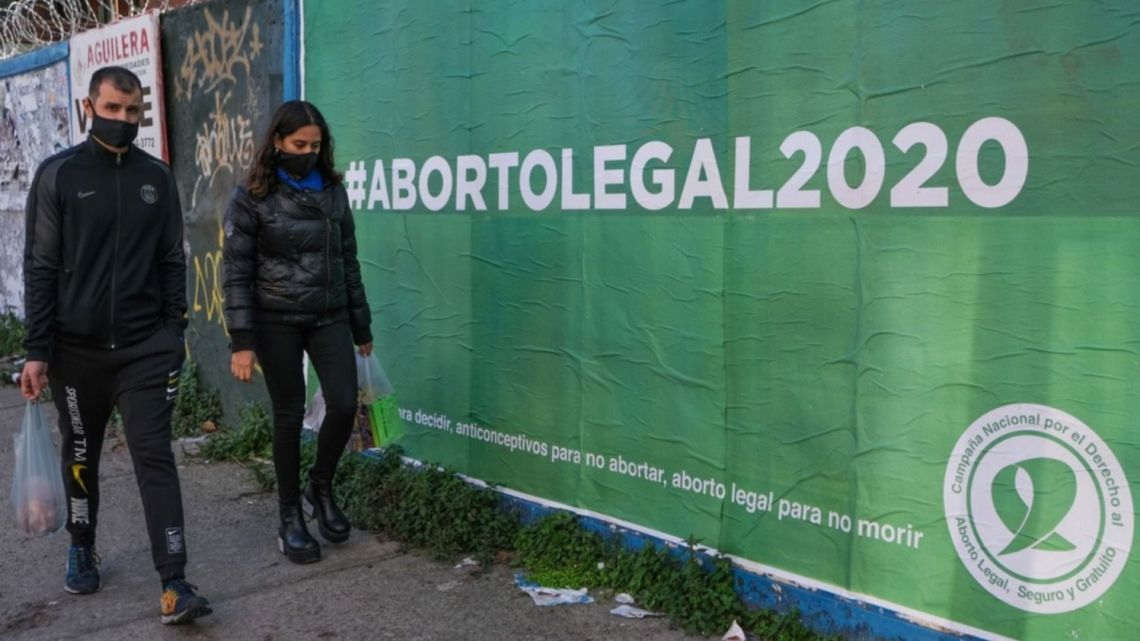 A poster calling for 'Aborto Legal 2020' is pictured on a street in Buenos Aires.