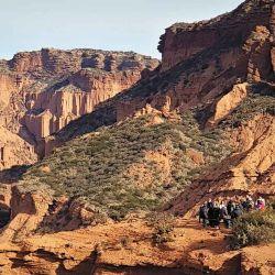 Impactante color rojizo en el paisaje del Parque Nacional Sierra de las Quijadas.
