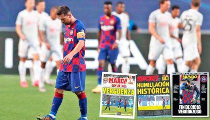 Vergüenza y humillación. Así reflejaron los principales diarios de España la derrota del Barcelona ante el Bayern Munich.