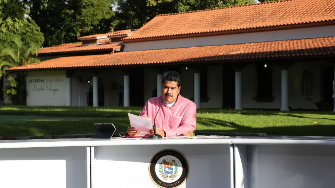 Venezuela's President Nicolás Maduro announcing in a televised message to the nation in Caracas on August 9, 2020.