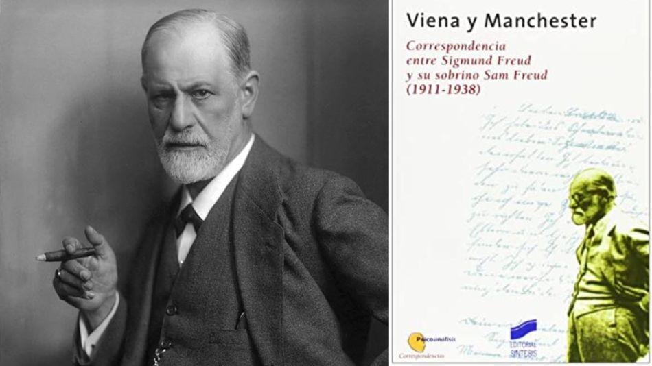 """Sigmund Freud y tapa del libro """"Viena y Manchester 20200817"""