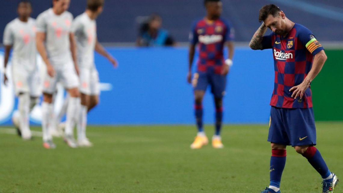 Barcelona's Lionel Messi reacts during the Champions League quarter-final between FC Barcelona and Bayern Munich at the Luz stadium in Lisbon, Portugal, Friday, August 14, 2020.