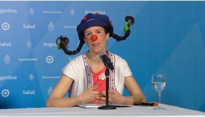 Payasa Filomena, en el reporte diario de Salud en el Día de las Infancias.