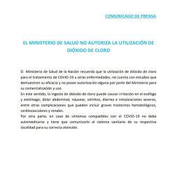 Documento contra el consumo de dióxido de cloro | Foto:cedoc
