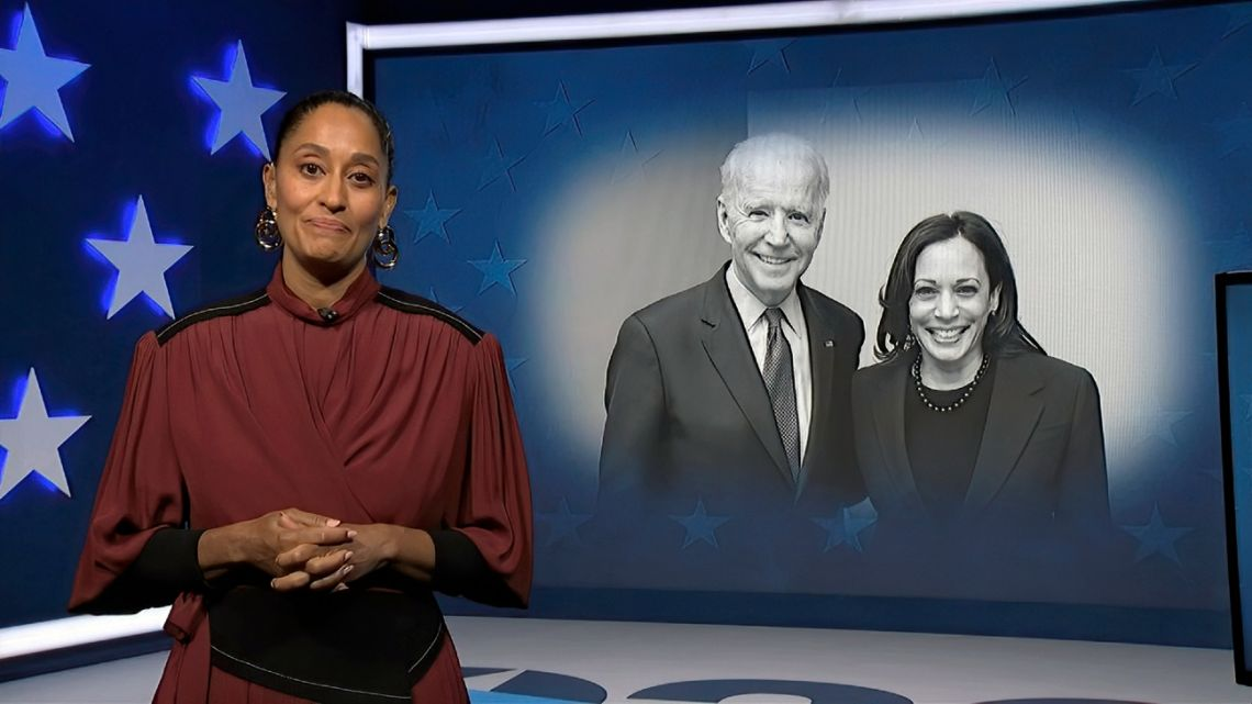 In this image from video, Tracee Ellis Ross, serving as moderator, speaks during the second night of the US Democratic National Convention on Tuesday, Aug. 18, 2020