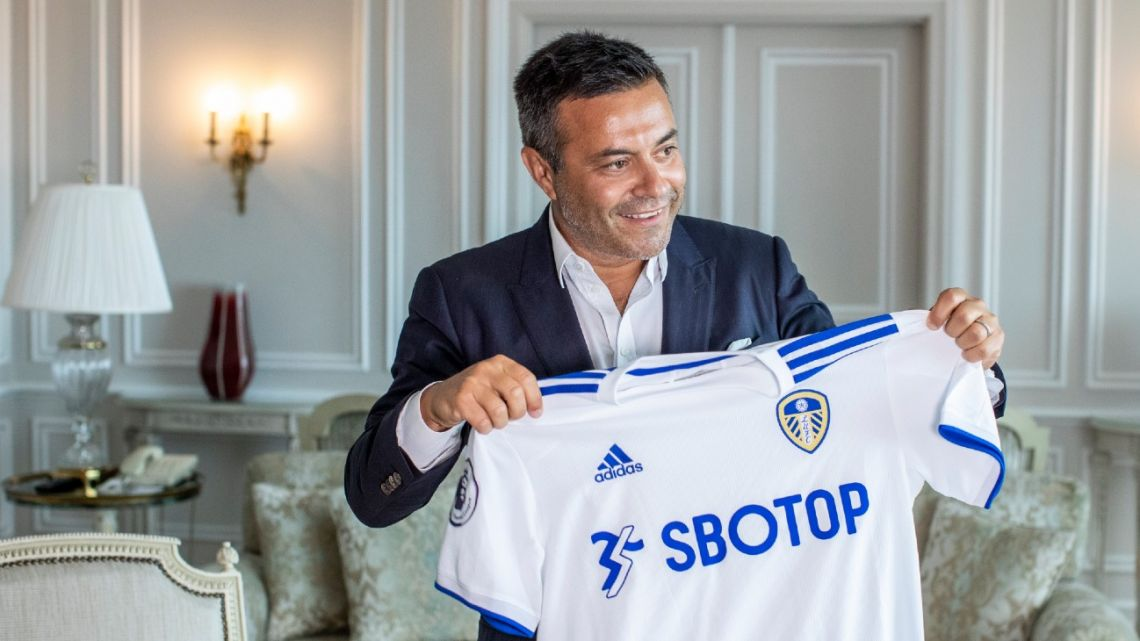 In this photo taken on Wednesday, August 19, 2020, Leeds owner Andrea Radrizzani holds a Leeds United shirt, during an interview with the Associated Press in Lisbon, Portugal.