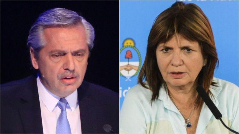 El presidente Alberto Fernández y la ex ministra Patricia Bullrich.