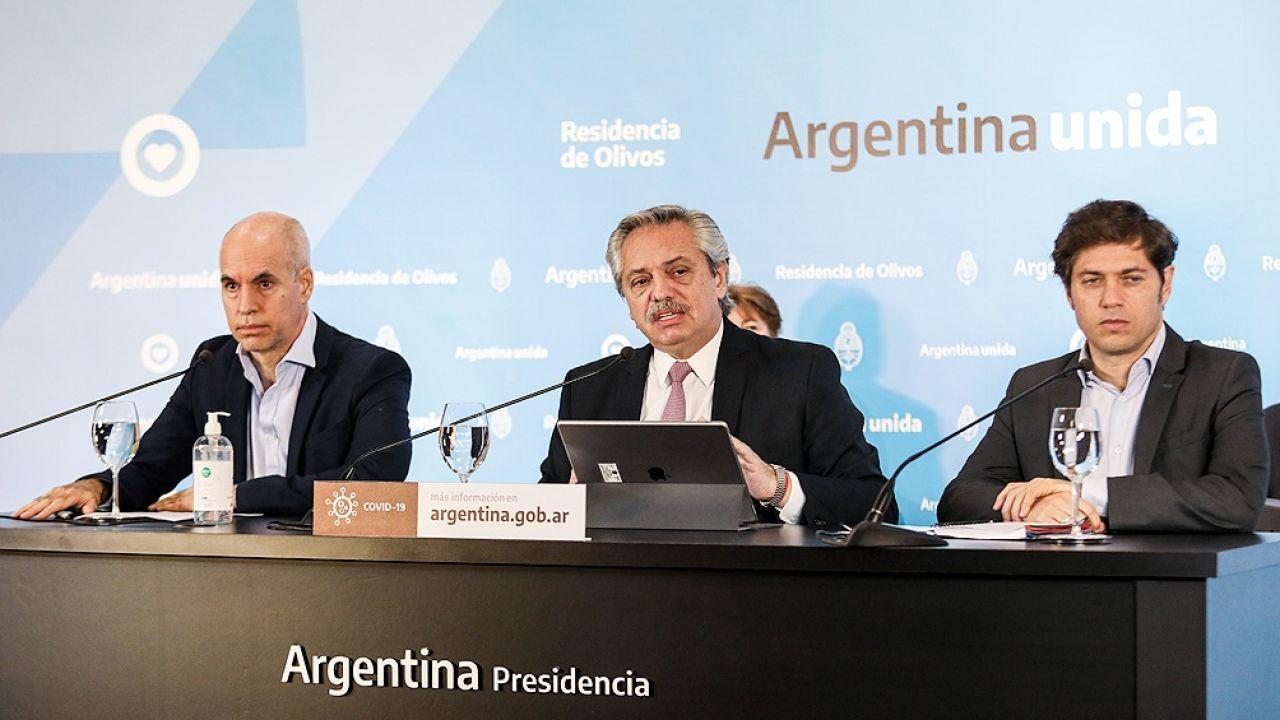 Alberto Fernández, Horacio Rodríguez Larreta y Axel Kicillof | Foto:Cedoc