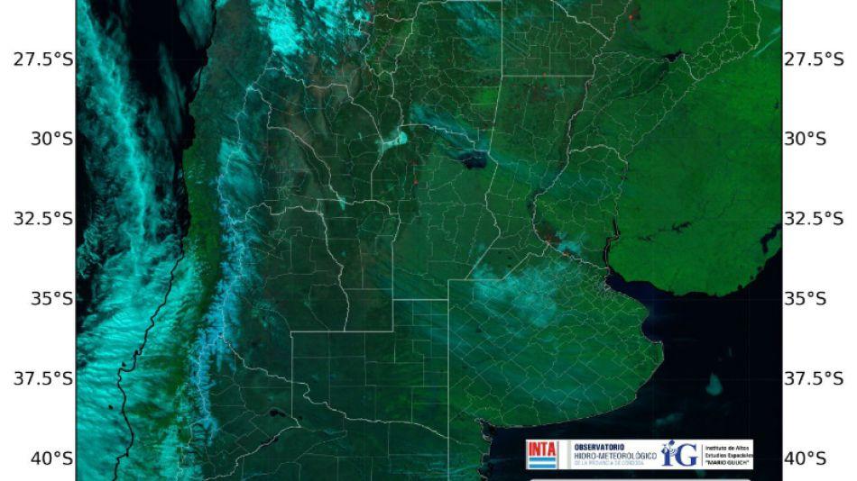 Imagen satelital de los incendios en Argentina.